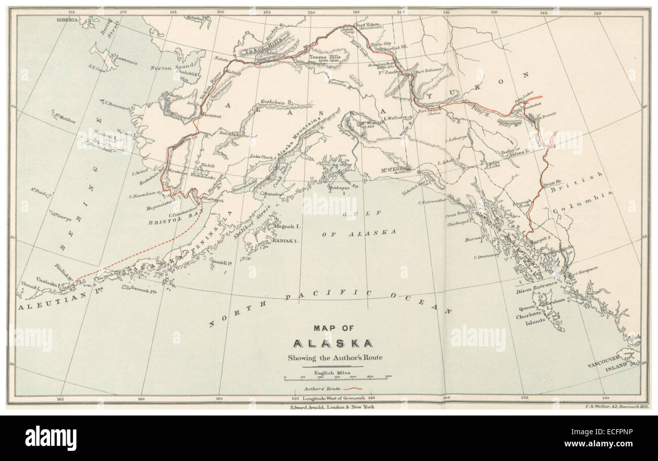pike1896 map of alaska showing the authors route stock image