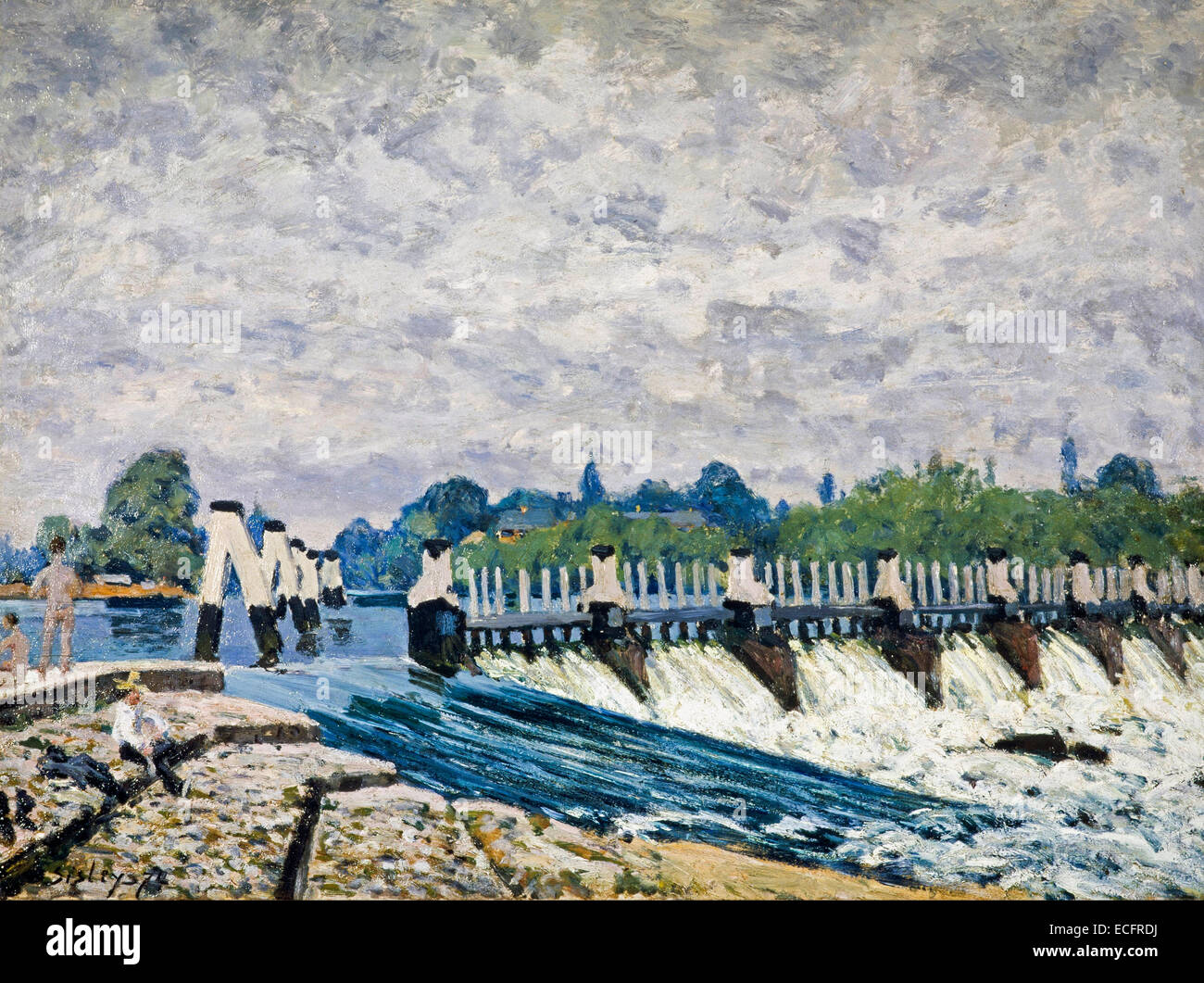 Molesey Weir – Morning, one of the paintings executed by Sisley on his visit to Britain in 1874 Alfred Sisley - Stock Image