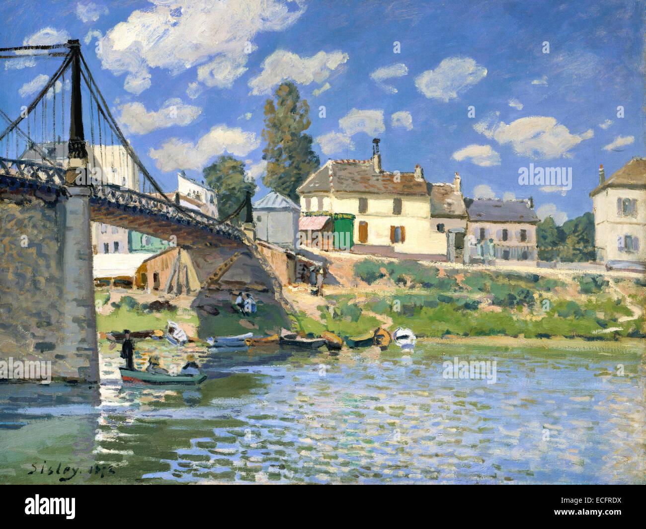 Bridge at Villeneuve-la-Garenne 1872 Alfred Sisley - Stock Image