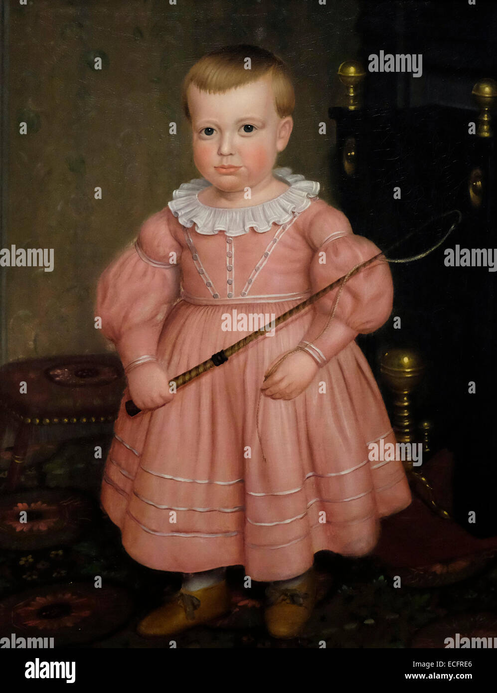 Young Boy with whip, circa 1840 - Unidentified artist - Stock Image