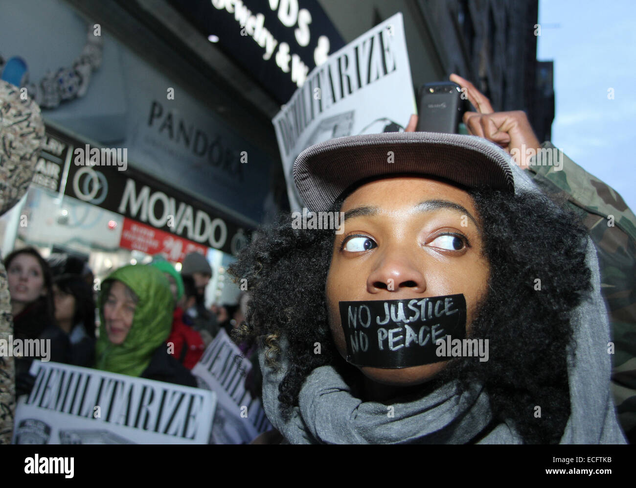 NEW YORK, NEW YORK - DECEMBER 13: Thousands of demonstrators marched up 6th Avenue to midtown in Manhattan for Millions - Stock Image