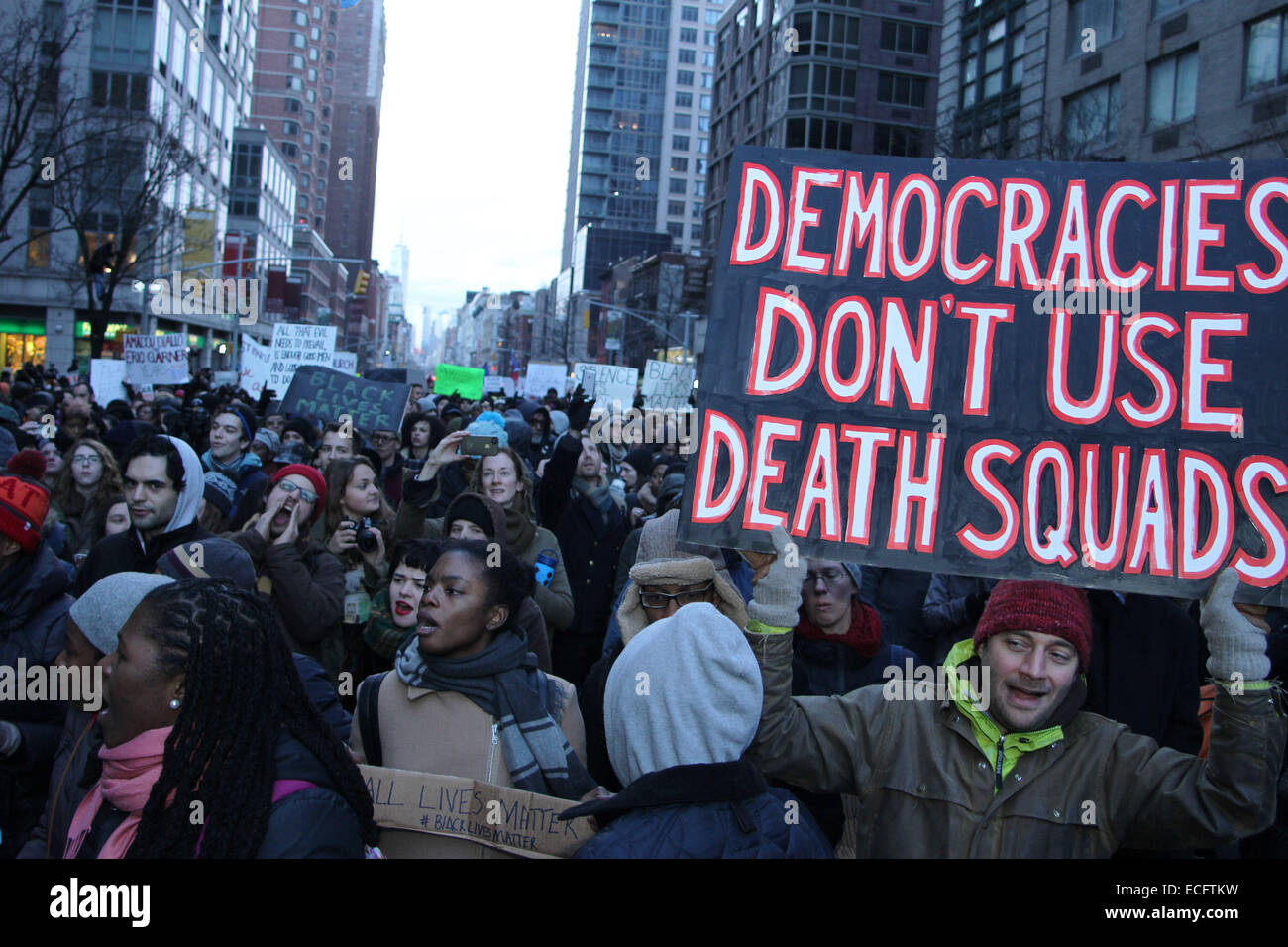 NEW YORK, NEW YORK - DECEMBER 13: Thousands of demonstrators gather march up 6th Avenue in midtown during Millions - Stock Image