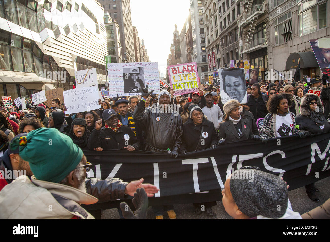New York, USA. 13th Dec, 2014. Sparked by the Grand Jury verdicts in Ferguson and the Eric Garner murder in NYC, - Stock Image