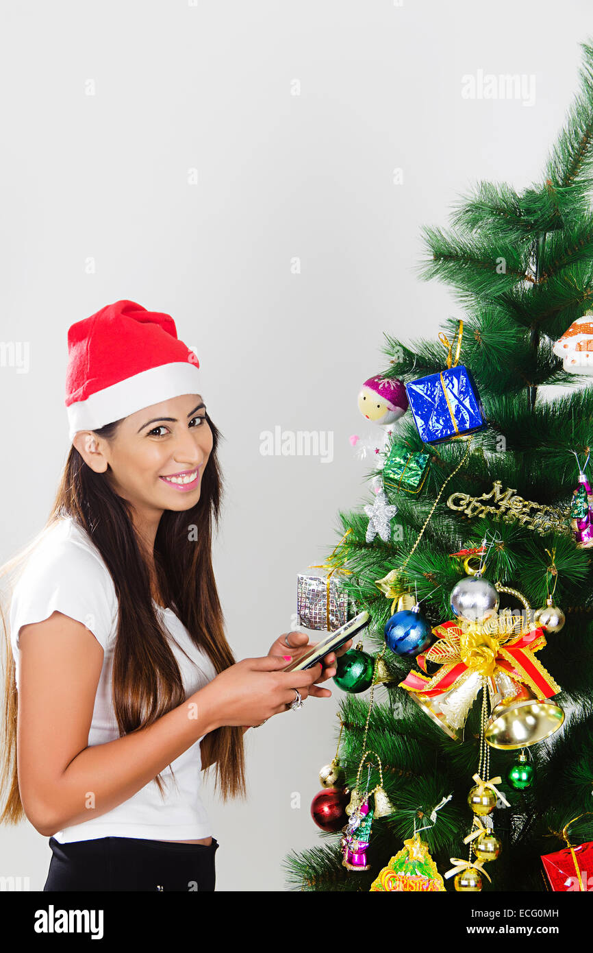 indian lady Christmas Festival chatting phone Stock Photo: 76569153 ...