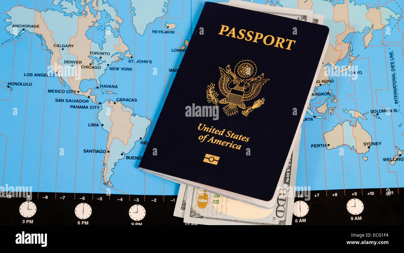 US Passport and currency on world time zone map Stock Photo ...