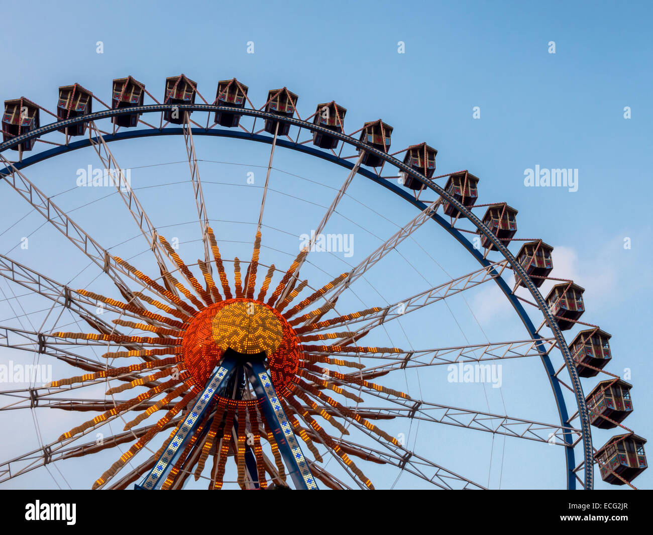 Old ferris wheel with traditional cabins at the Berlin Christmas market, Berliner Weihnachtszeit, Alexanderplatz - Stock Image