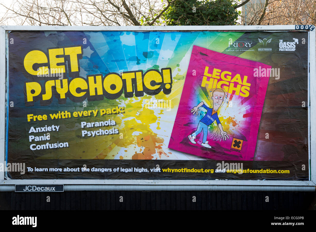 Billboard poster for the Dangers of Legal Highs - Stock Image