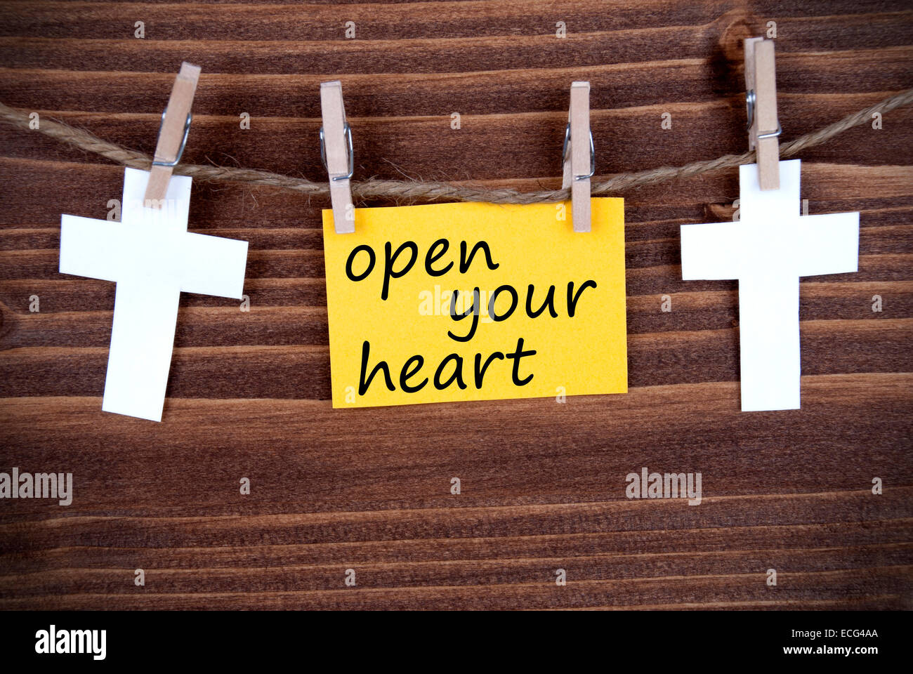 Yellow Tag Or Label With Two Crosses On A Line With Life Quote Open