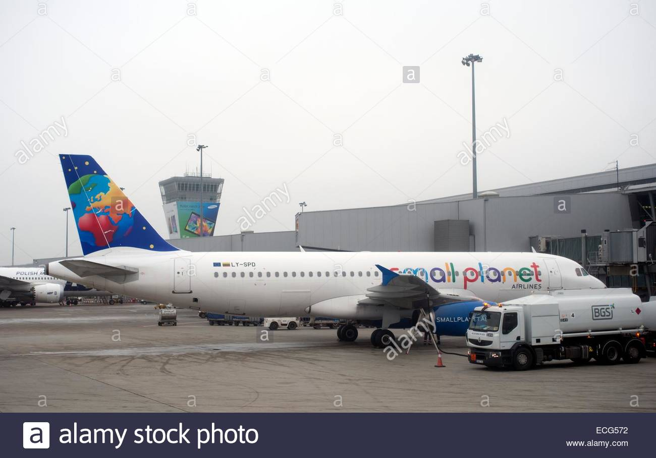 Warsaw Poland Small Planet Airbus A320 at Warsaw Chopin Airport. - Stock Image