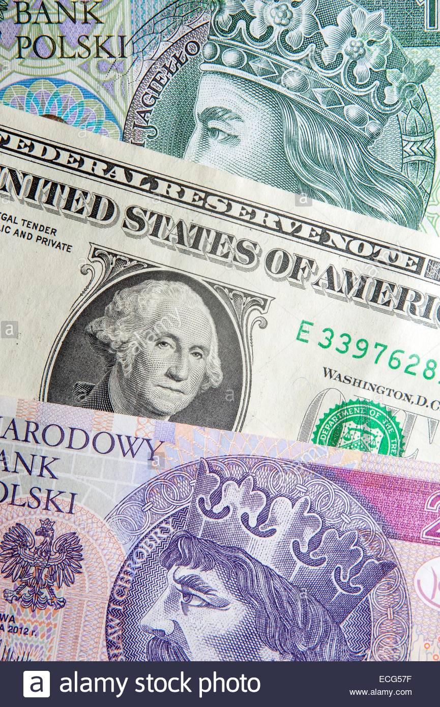 Polish money Zloty's bank notes with US Dollars - Stock Image