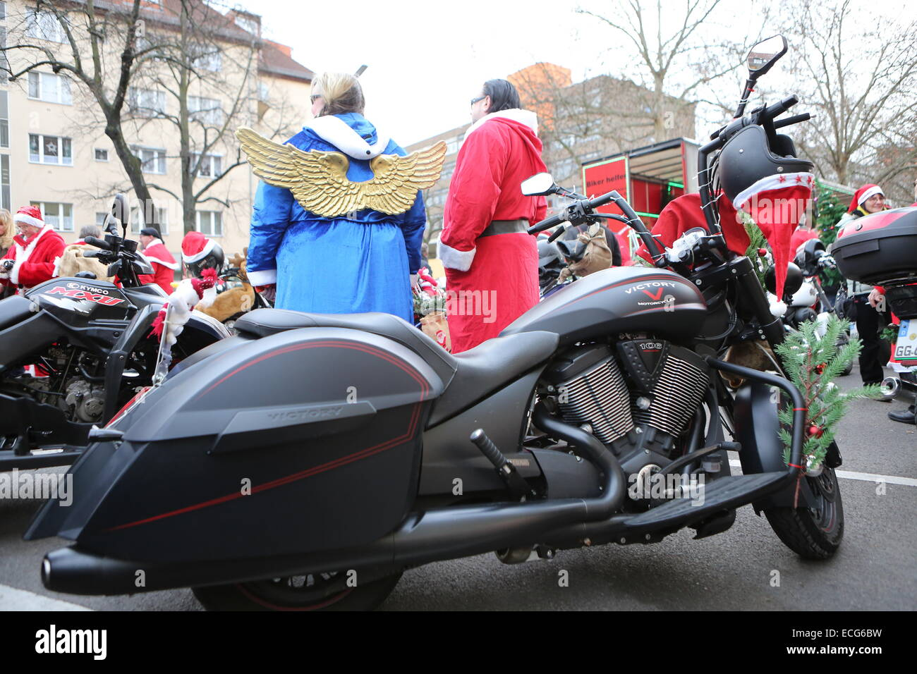 Decorated motorcycles and bikers dressed as Santa Claus roam around ...