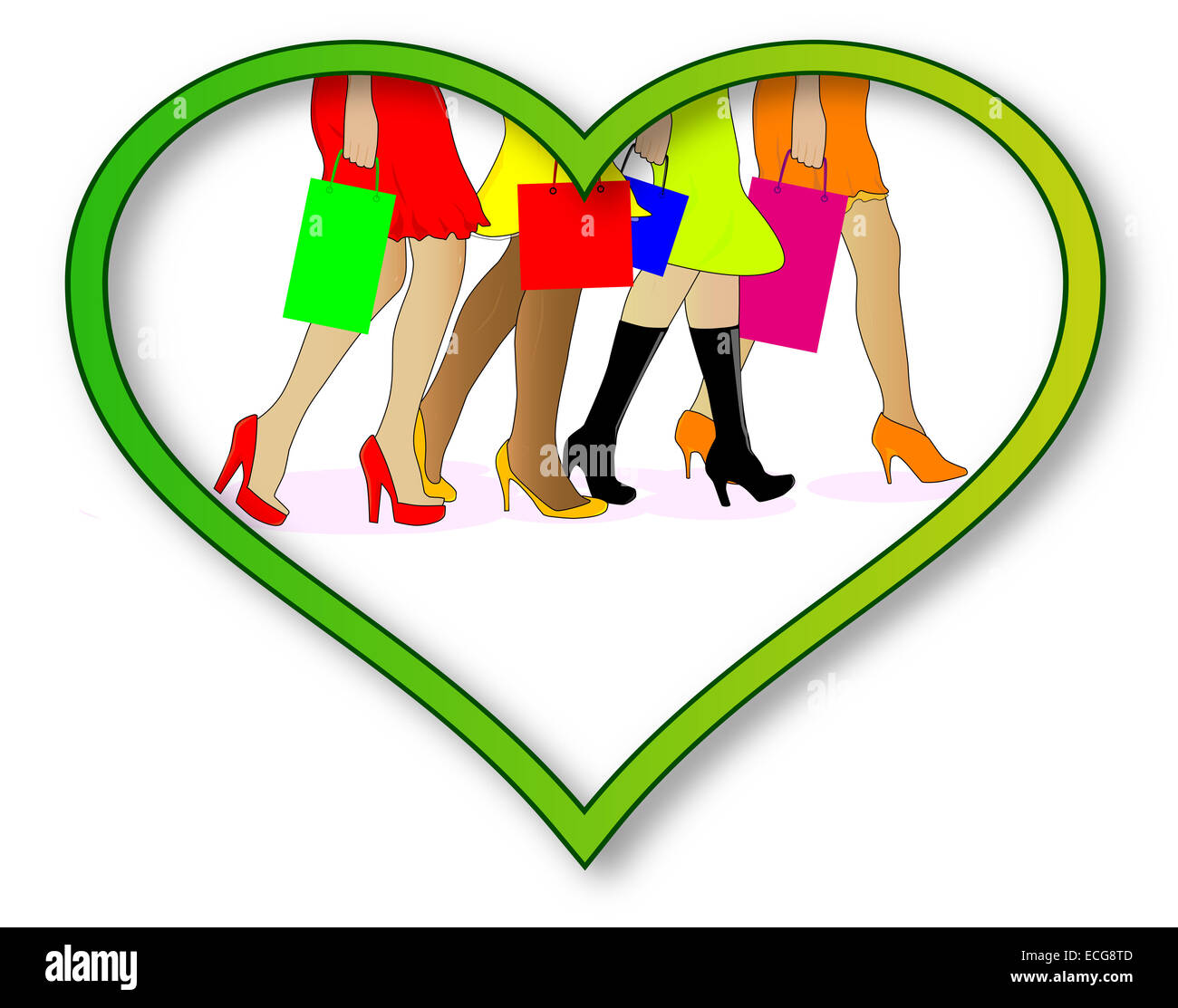 A collection of girls legs with shopping bags set into a heart over a white background - Stock Image