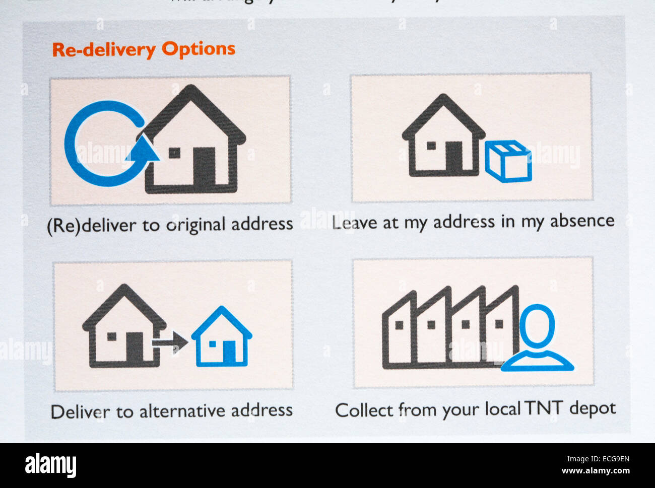 Re-delivery options on TNT sorry we missed you card - Stock Image