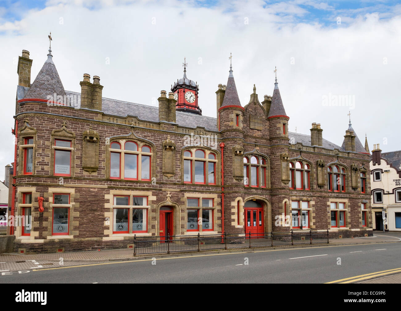 Old Town Hall building with clock in Stornoway, Isle of Lewis, Outer Hebrides, Western Isles, Scotland, UK, Britain - Stock Image