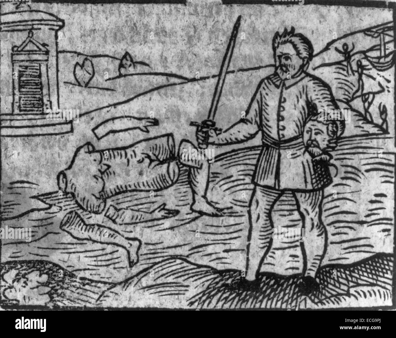 Man holding sword and head of decapitated, dismembered body in background, woodcut, circa 1599 - Stock Image