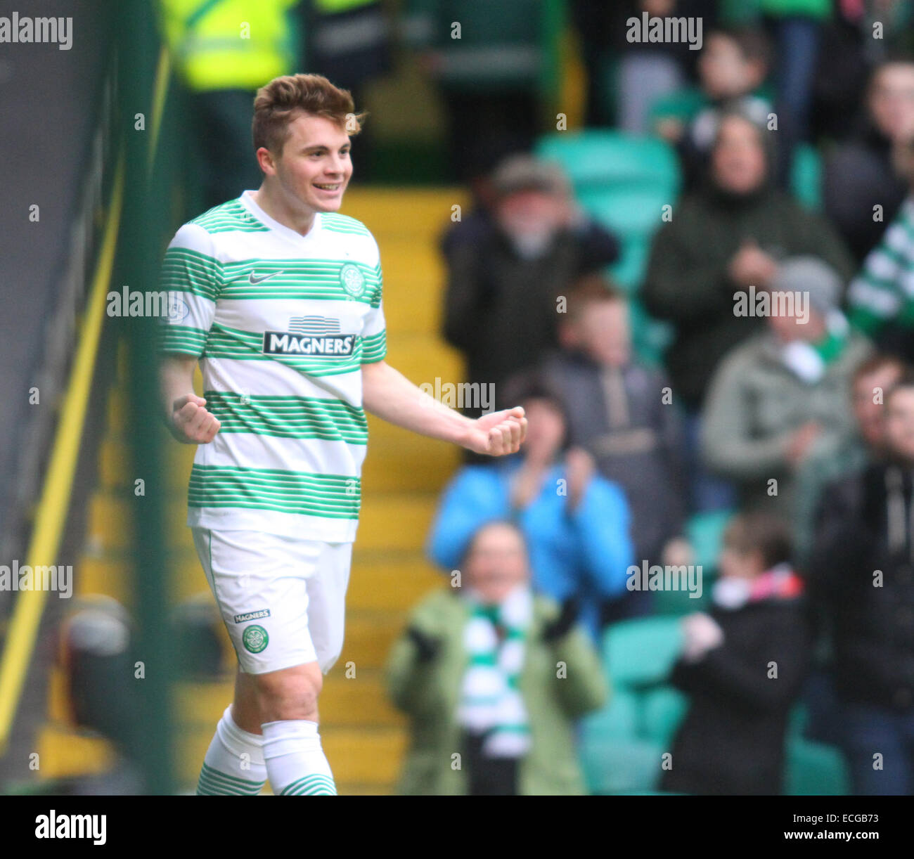 Glasgow, Scotland. 14th Dec, 2014. Scottish Premier League. Celtic vs St mirren. James Forrest celebrates his goal - Stock Image