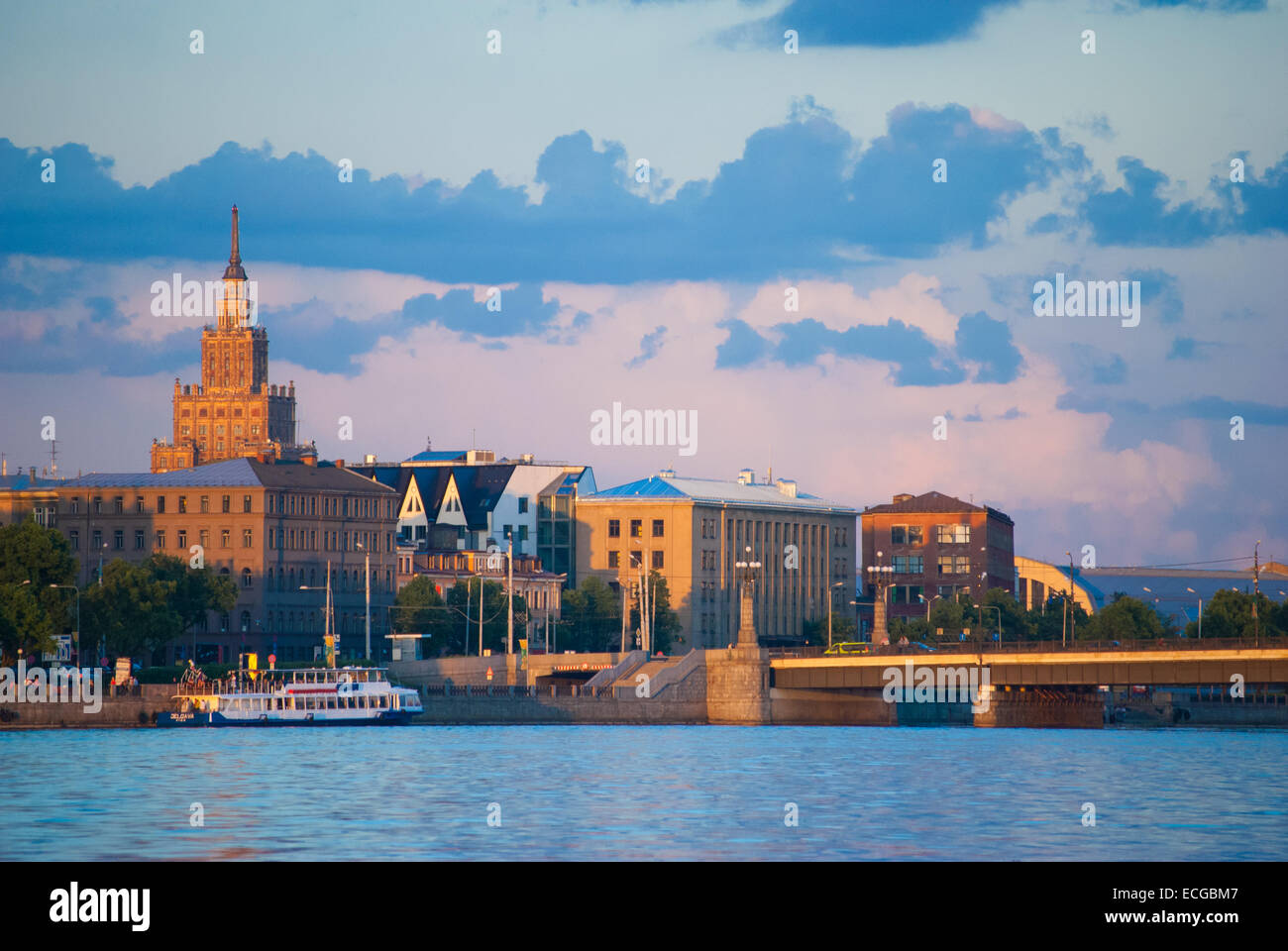 Riga in summer evening during sunset, Latvia - Stock Image