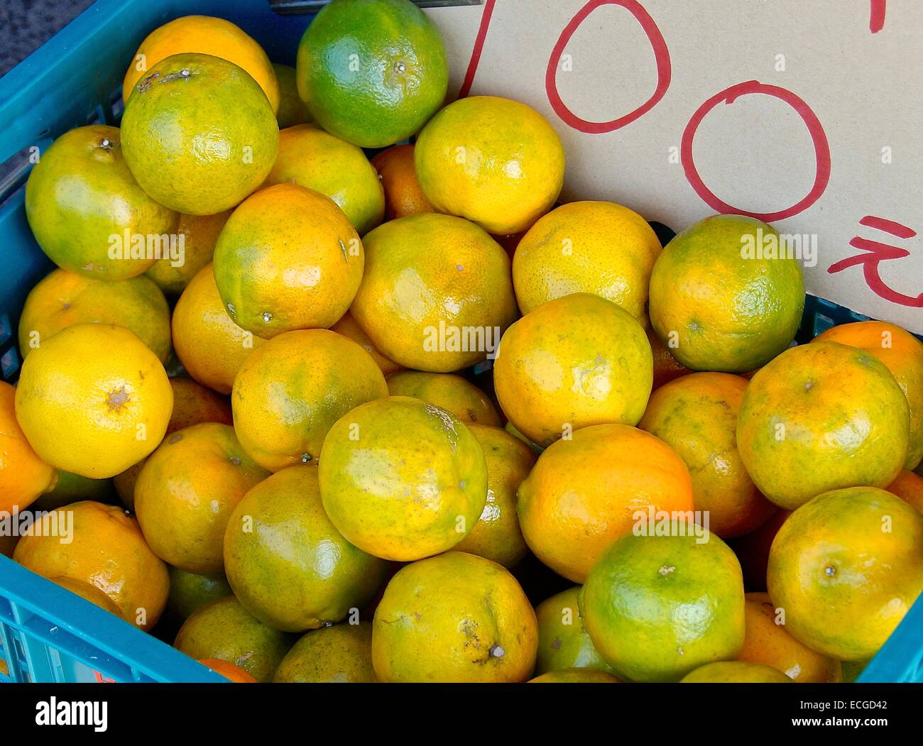 Tropical tangerines on sale at fruit market - Stock Image