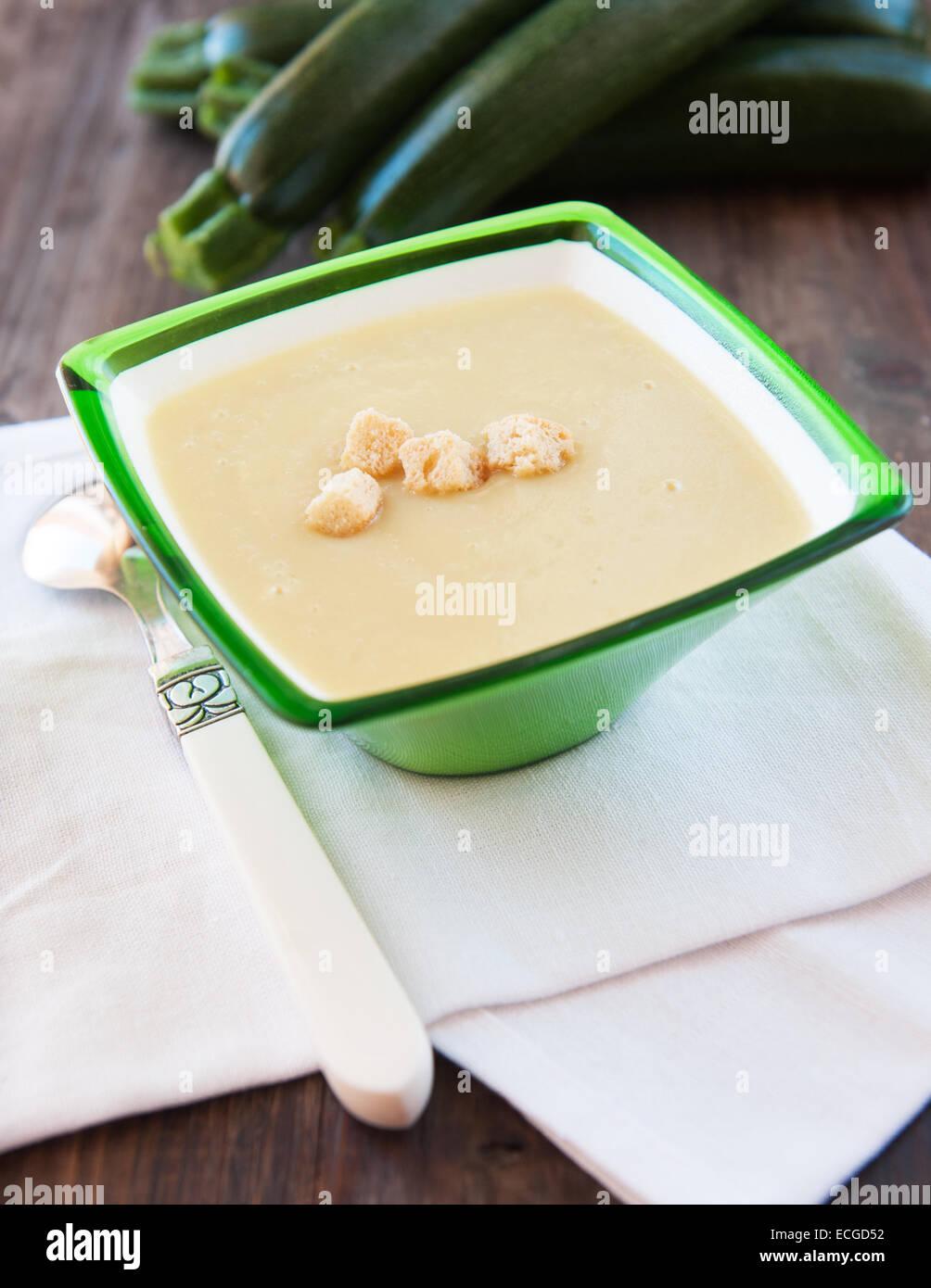 Photo of fresh delicious soup pureed squash - Stock Image