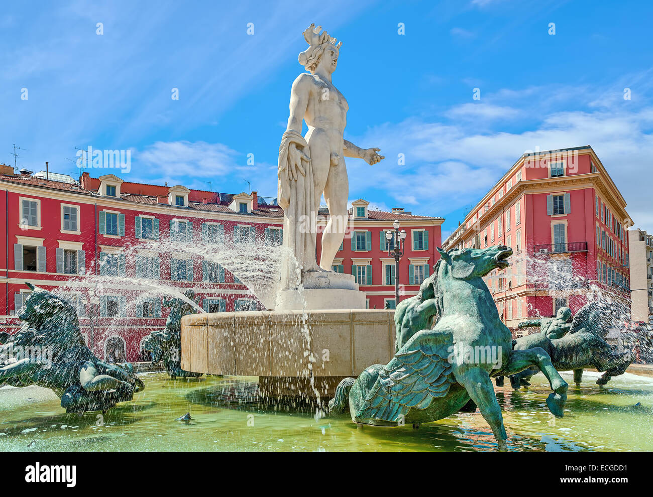 Famous Fontaine du Soleil (Fountain of the Sun) in Place Massena in Nice, France. - Stock Image