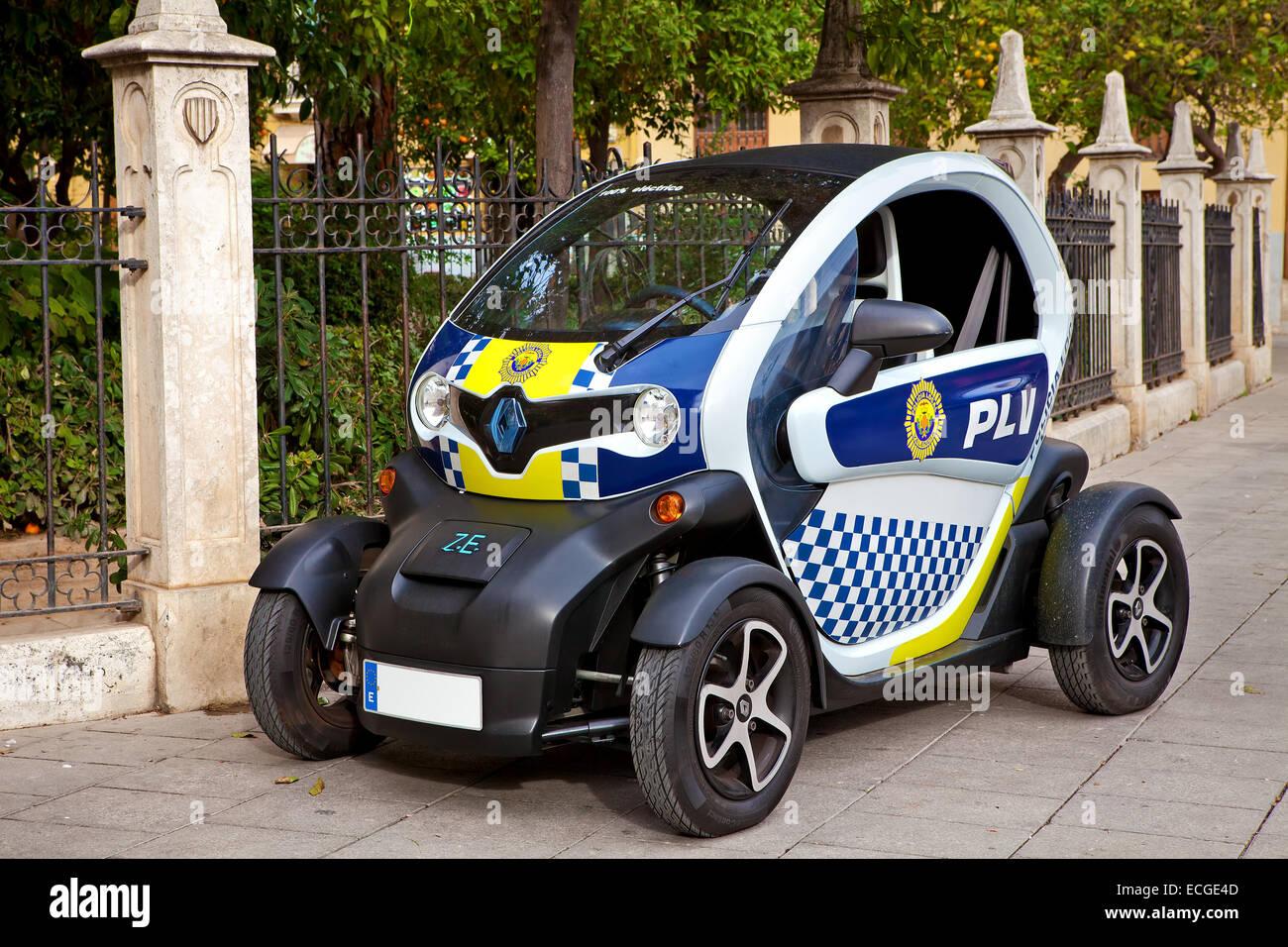 Police car on the street of Valencia, Spain. Stock Photo