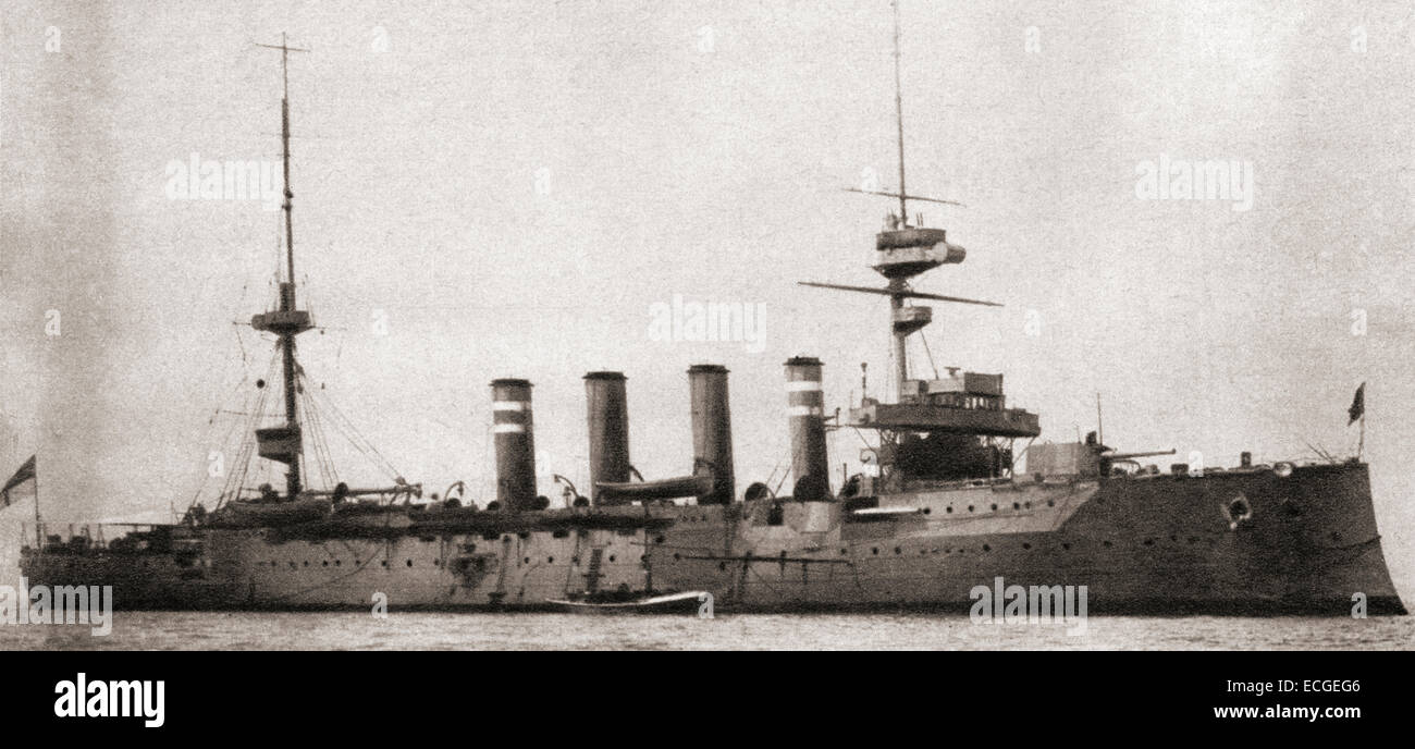 HMS Hampshire, Devonshire-class armoured cruiser built for the Royal Navy, sunk after hitting a German mine and - Stock Image