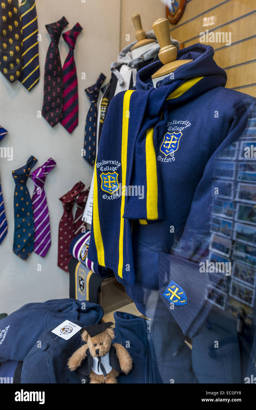 University College Oxford clothing is bought by students and tourists alike and is seen here for sale in the window - Stock Image