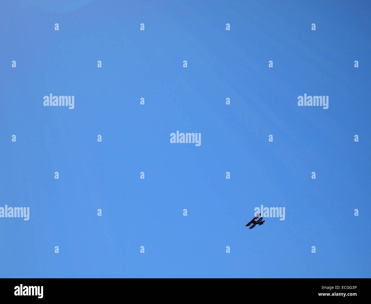 Bi-Plane flying above Marthas Vineyard, Cape Cod, Massachusetts, USA - Stock Image