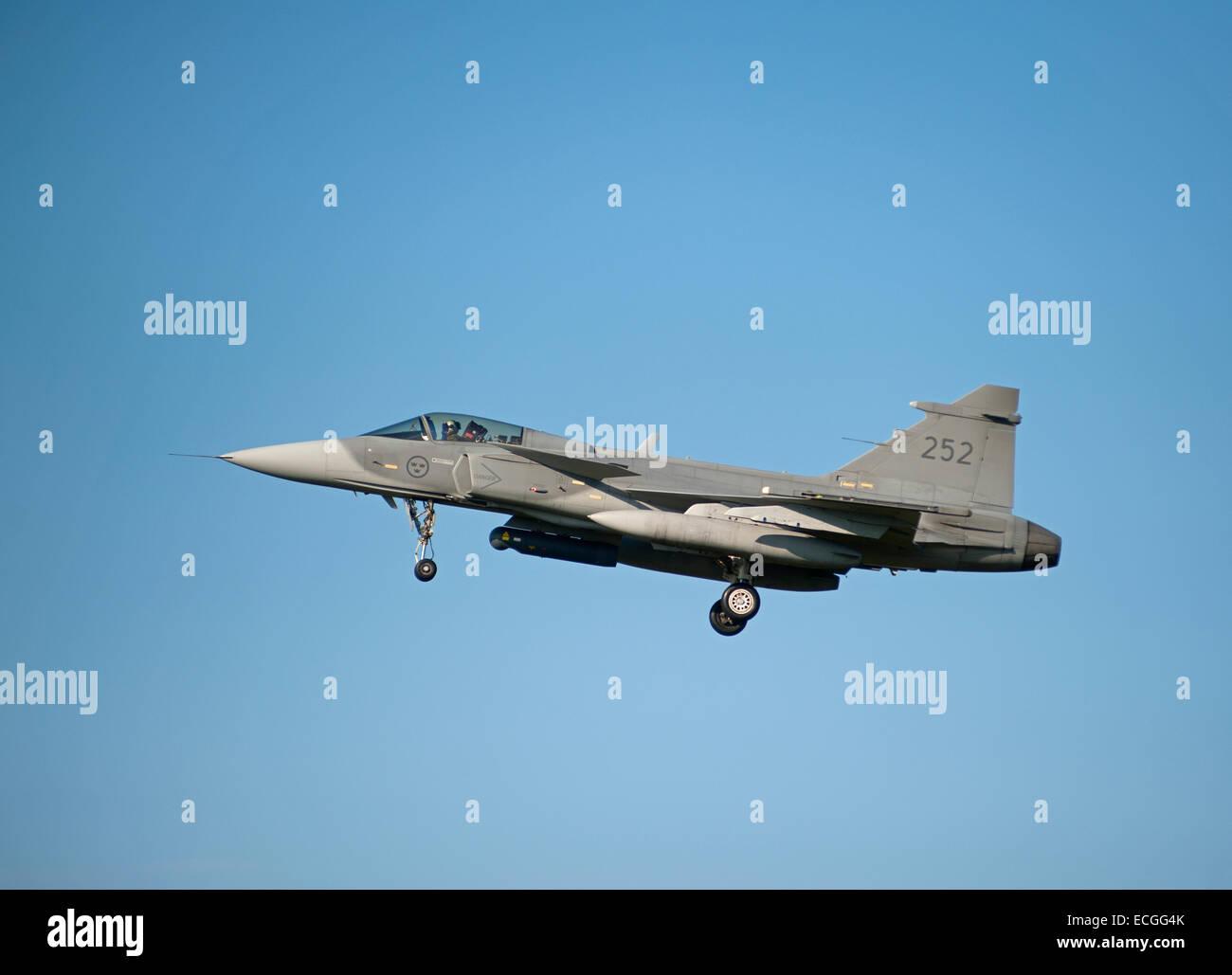 Swedish Saab Gripen No 252. Mach 2 Fighter Jet, approaching RAF Lossiemouth Scotland.  SCO 9316. - Stock Image
