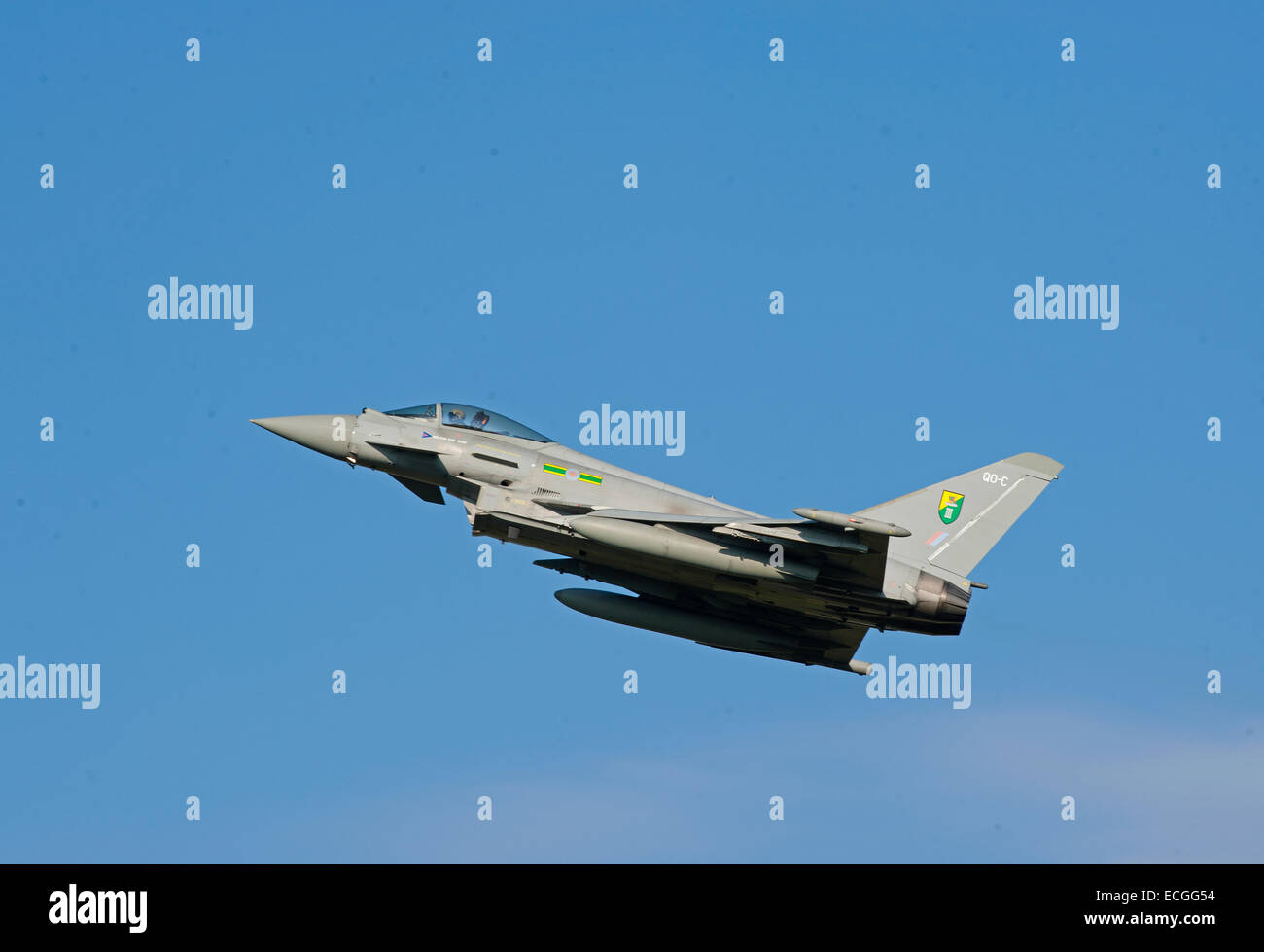 Eurofighter Typhoon FRG4 on low approach to RAF Lossiemouth, Scotland.  SCO 9341. - Stock Image