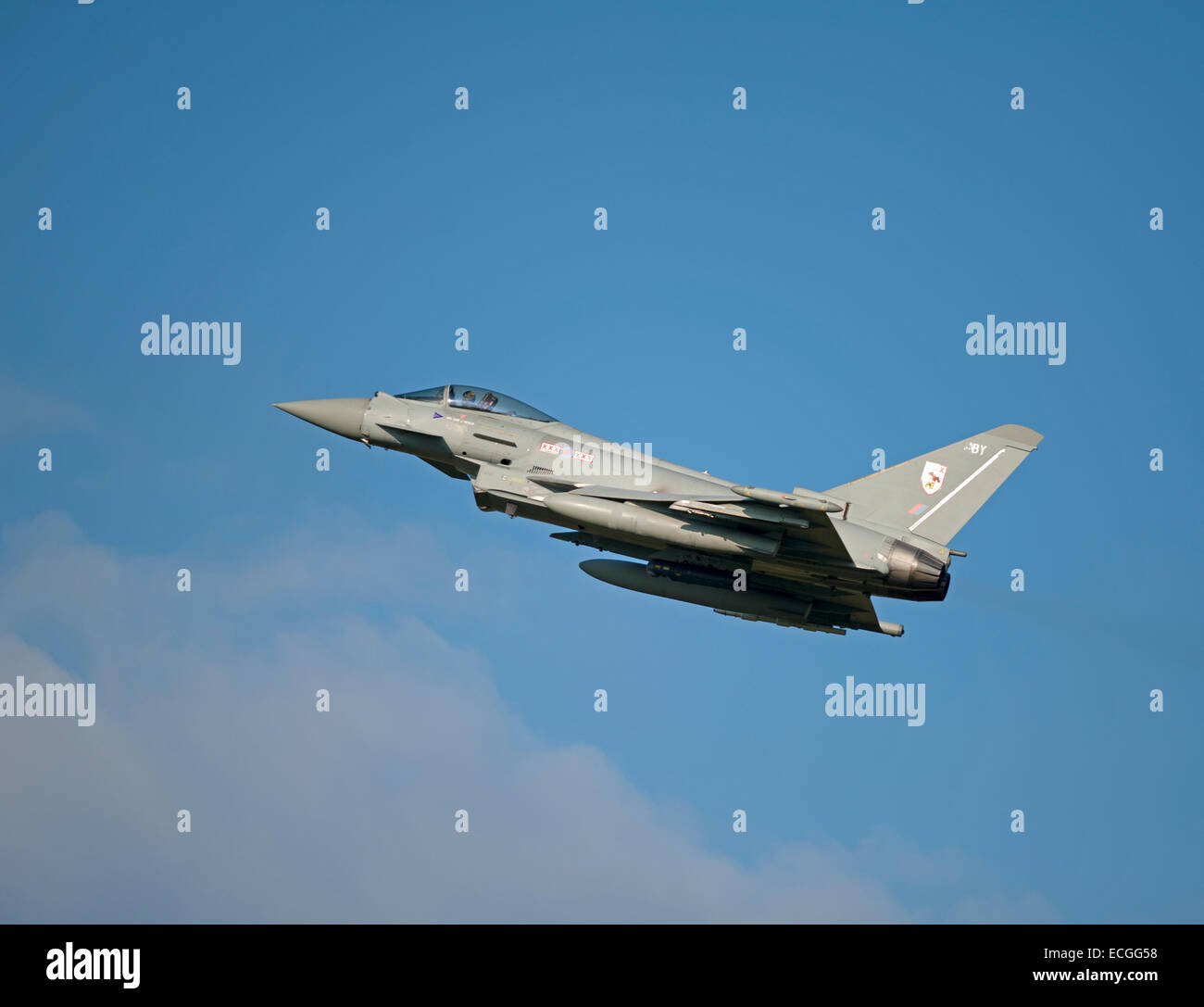 Eurofighter Typhoon FRG4 on low approach to RAF Lossiemouth, Scotland.  SCO 9342, - Stock Image
