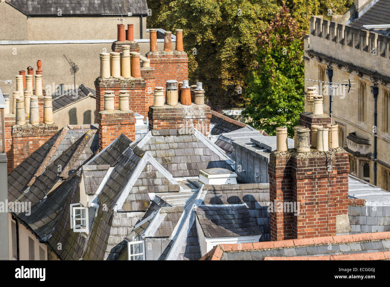 The roof tops of Oxford including attics, slate roofs, brick chimneys and chimney pots - Stock Image