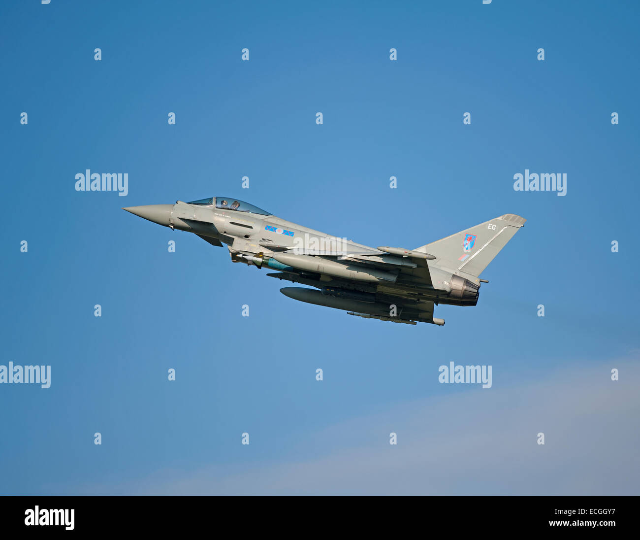 Eurofighter Typhoon FRG4 on low approach to RAF Lossiemouth, Scotland.  SCO 9344. - Stock Image