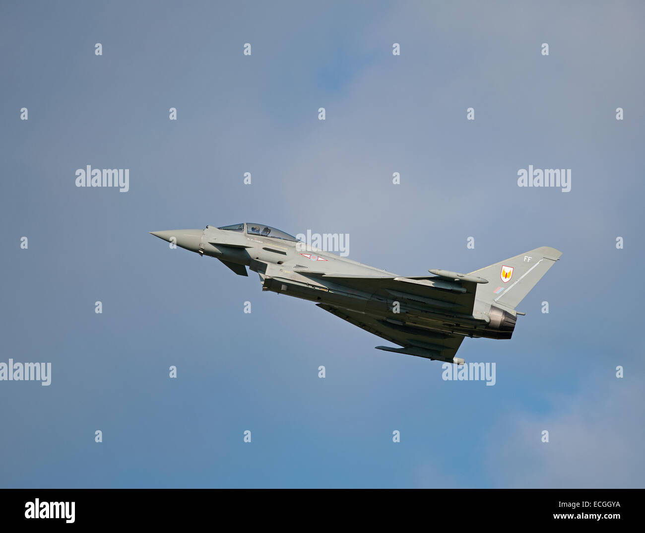 Eurofighter Typhoon FRG4 on low approach to RAF Lossiemouth, Scotland.  SCO 9345. - Stock Image