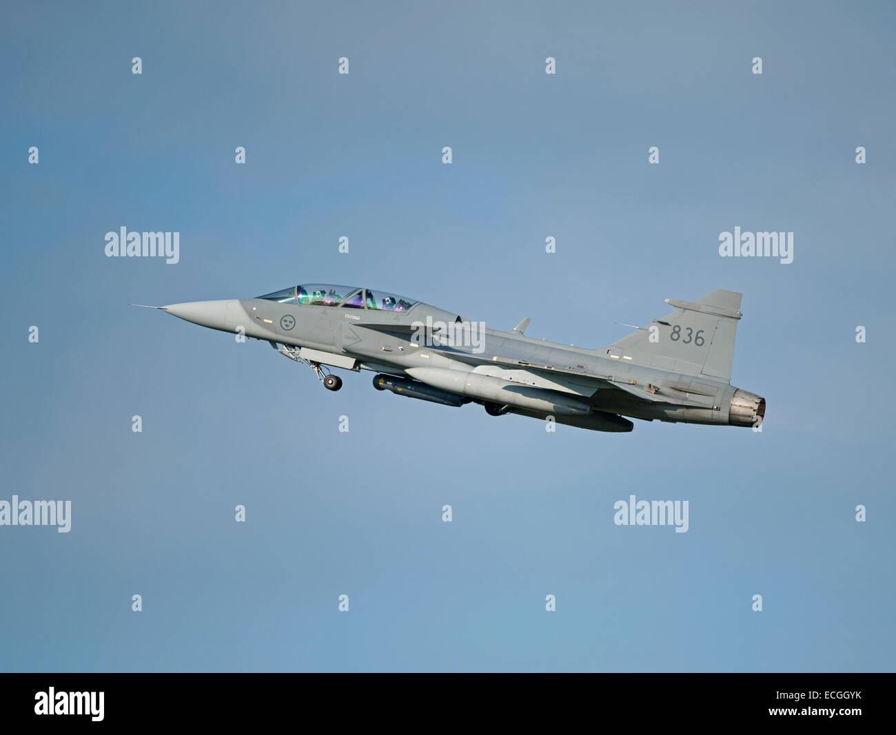 Swedish Saab Gripen No 836 on exercise at RAF Lossiemouth Scotland.  SCO 9349. - Stock Image