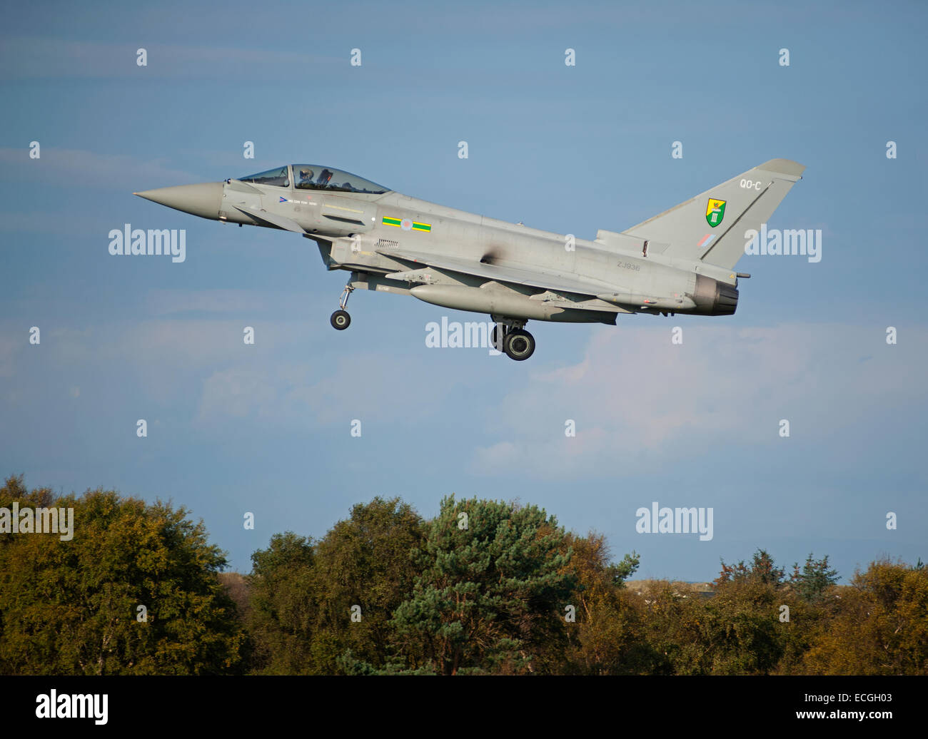 Eurofighter Typhoon FRG4 on low approach to RAF Lossiemouth, Scotland.  SCO 9535. - Stock Image