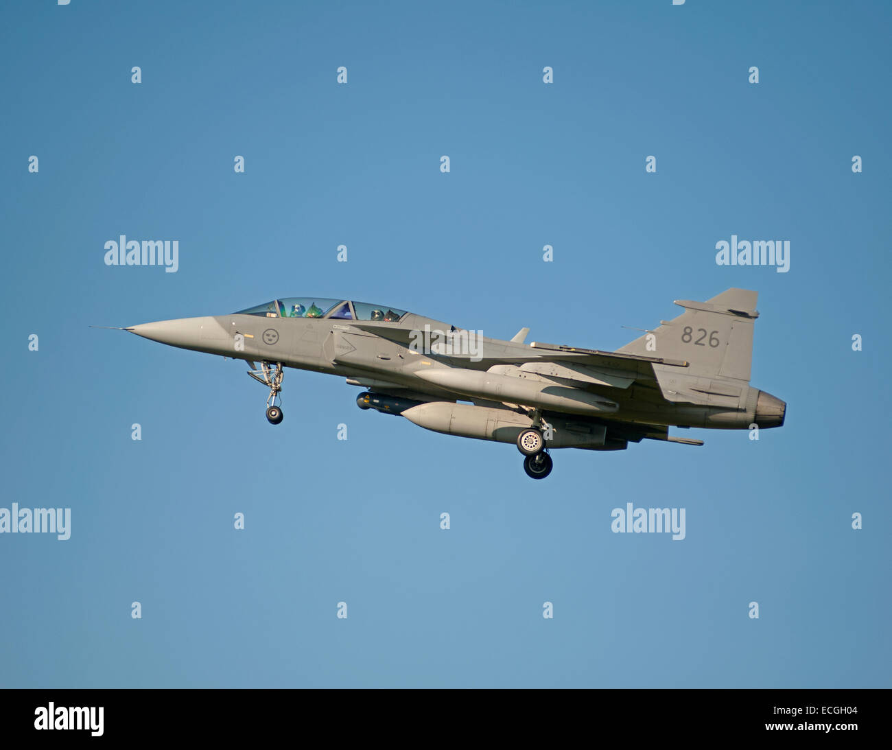 Saab Gripen Single seat Fighter Jet No 836 approaching RAF Lossiemouth Scotland.  SCO 9354. - Stock Image