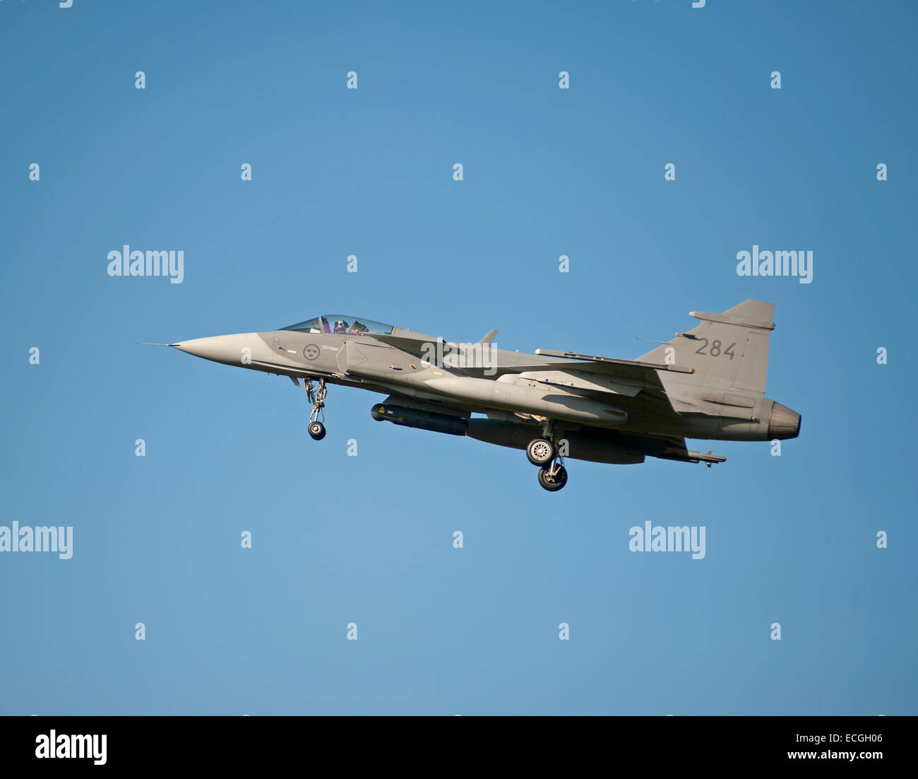 Swedish Saab Gripen Military Fighter No 284 approaching RAF Lossiemouth, Scotland.  SCO 9355. - Stock Image