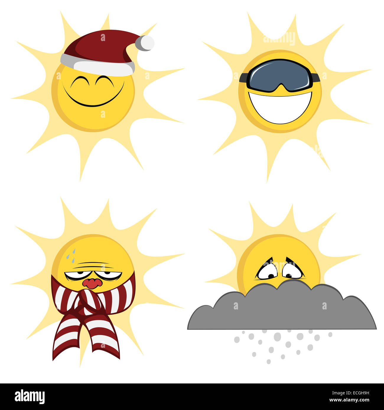 Collection of four colored, cute sun character icons (emoticons) with different look - Stock Image