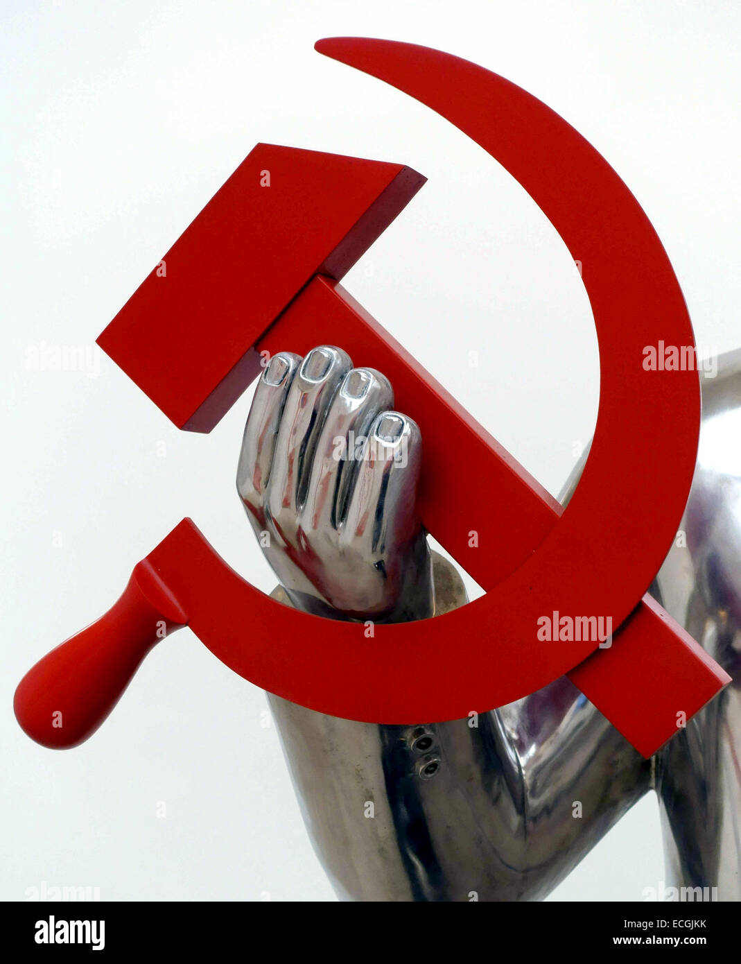 Hammer and Sickle - detail of sculpture in London art gallery - Stock Image