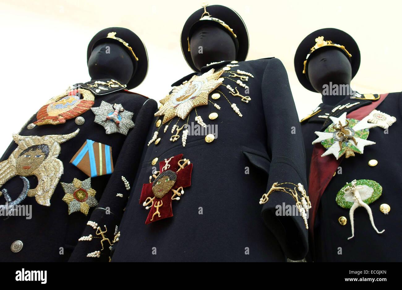 'Overcoat 2014' by Dmitri Tsvetkov (detail) in London art gallery - Stock Image