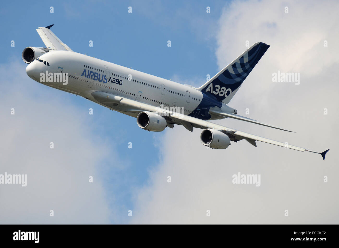 The A380 is a double-deck, wide-body, four-engine jet airliner manufactured by Airbus. It is the world's largest - Stock Image