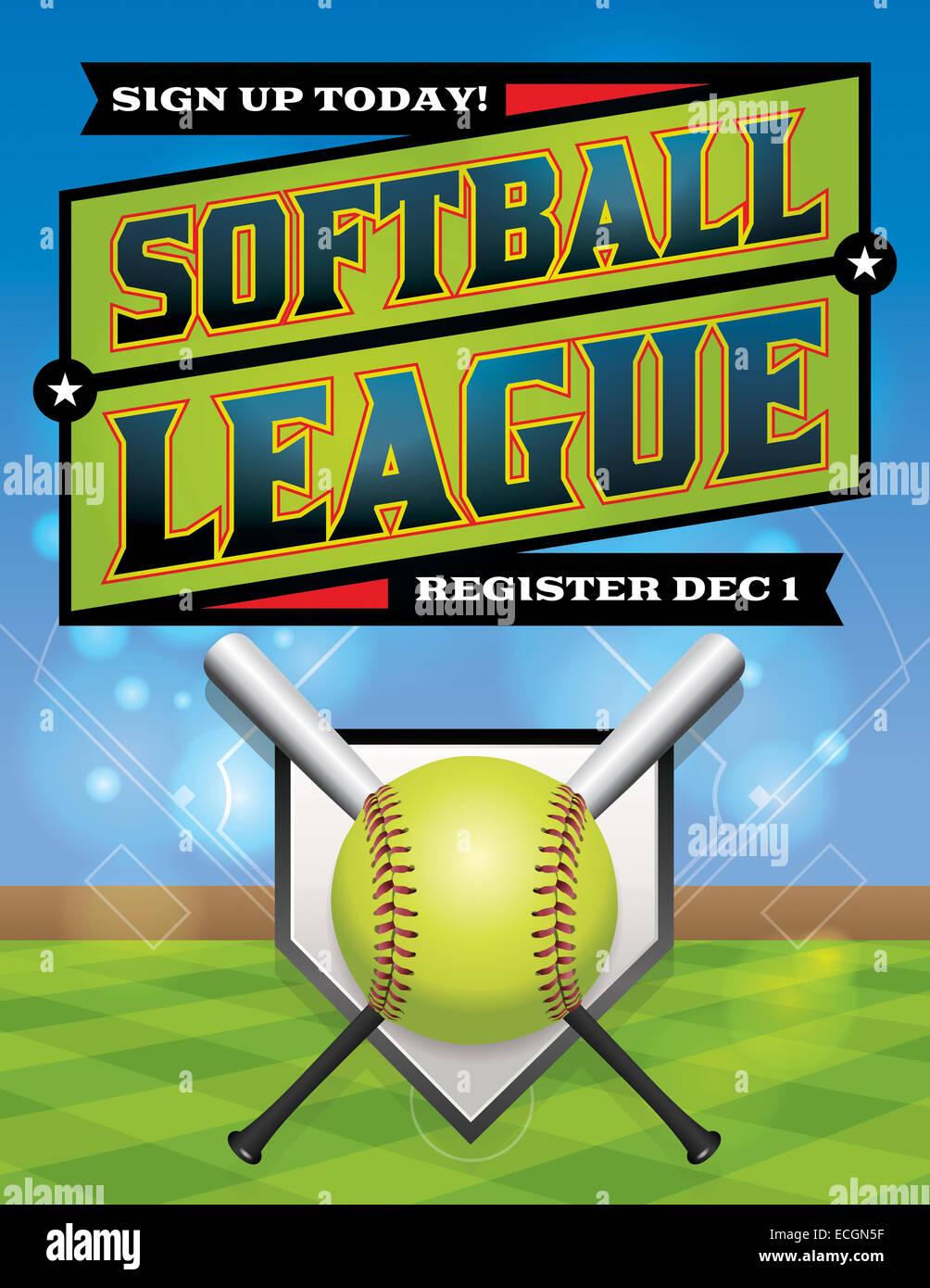 An illustration for a softball league flyer. Stock Photo
