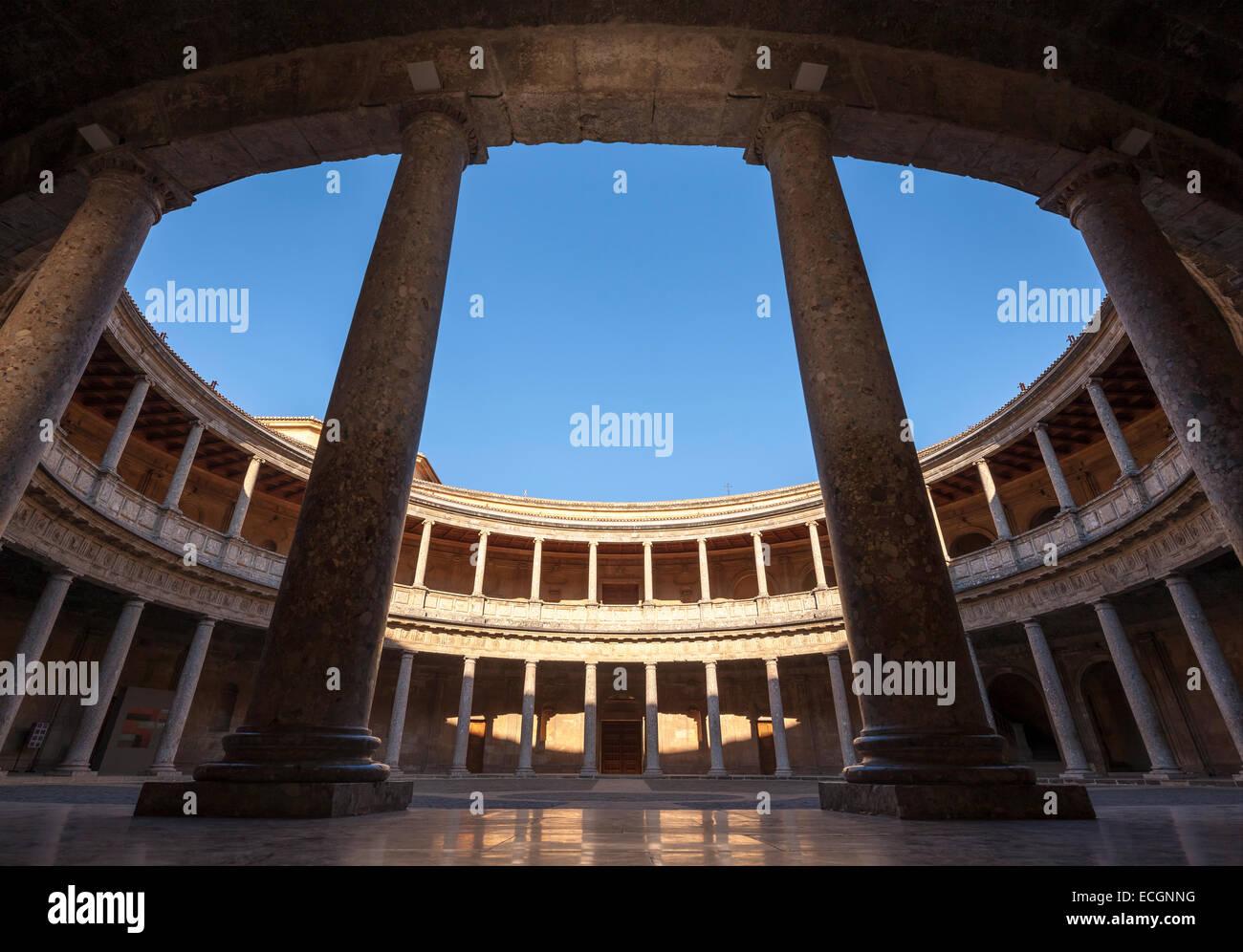 Renaissance palace of holy roman emperor Charles V in the Alhambra Granada Spain. Palacio Carlos V. Inner circular Stock Photo