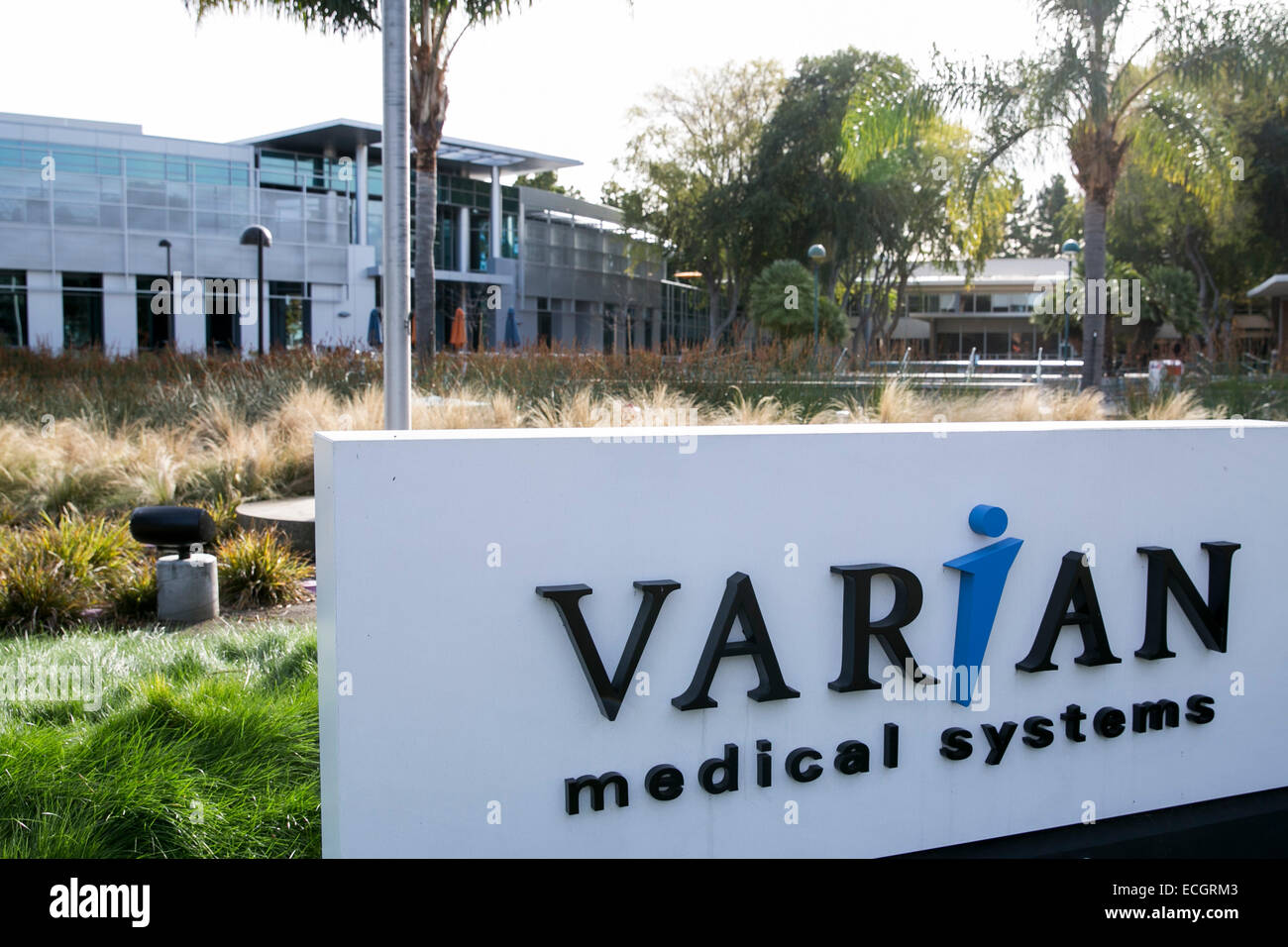 The headquarters of Varian Medical Systems. - Stock Image