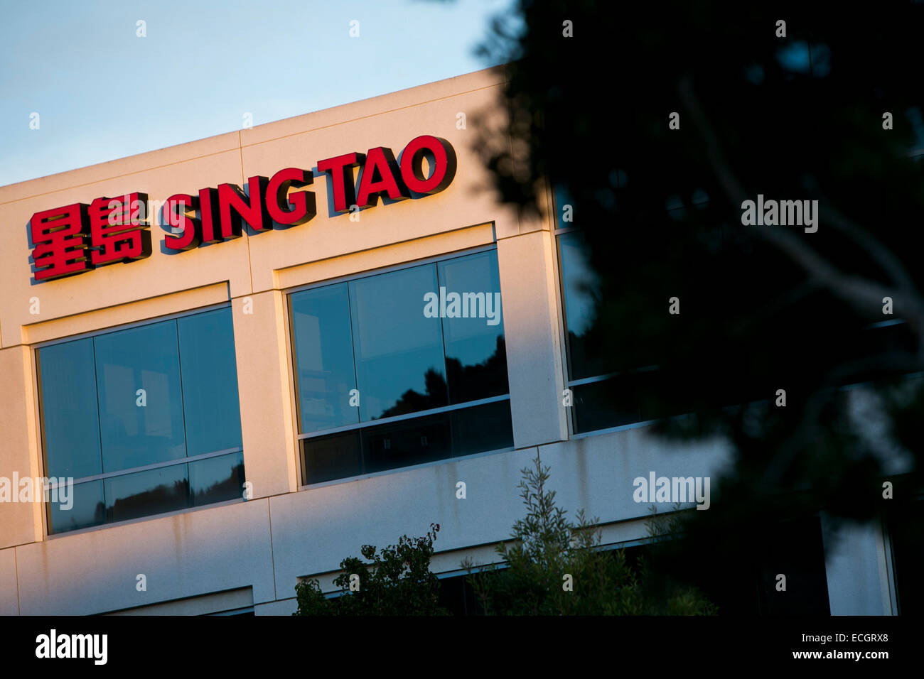 The San Francisco office of Hong Kong newspaper Sing Tao. - Stock Image