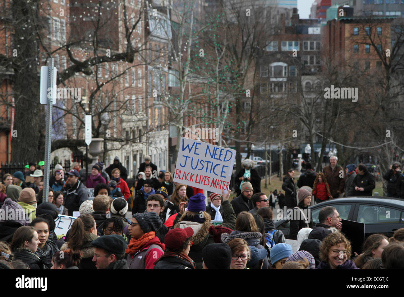 Boston, Massachusetts, USA. 13th December, 2014. People gather for the Millions March protest in Boston, Massachusetts, - Stock Image