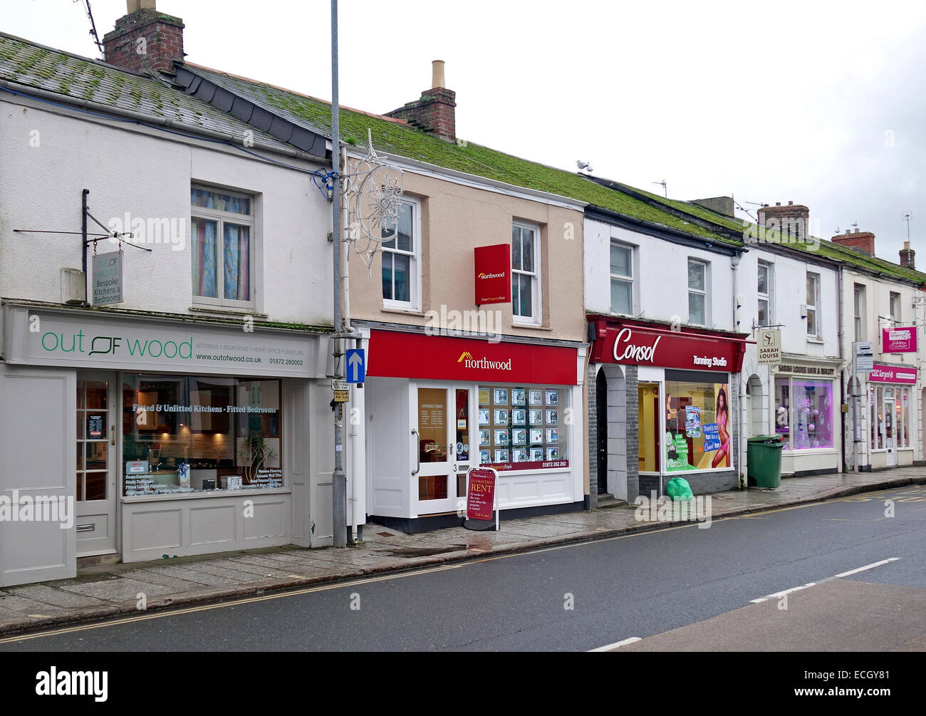 small family businesses in the town centre of truro, cornwall, uk - Stock Image