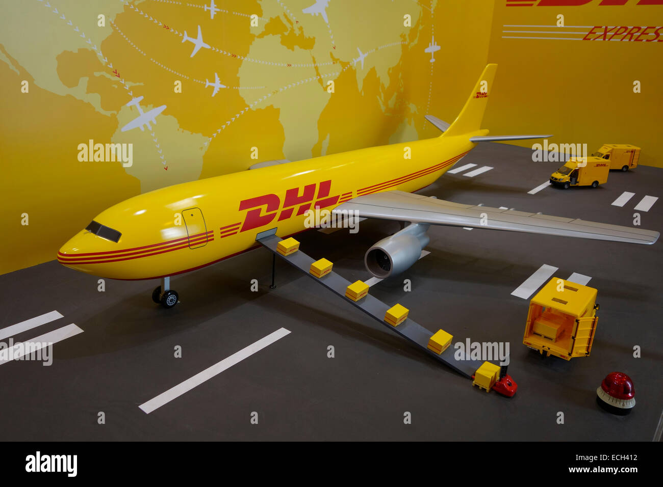 small model of dhl express cargo airplane stock photo 76593694 alamy. Black Bedroom Furniture Sets. Home Design Ideas