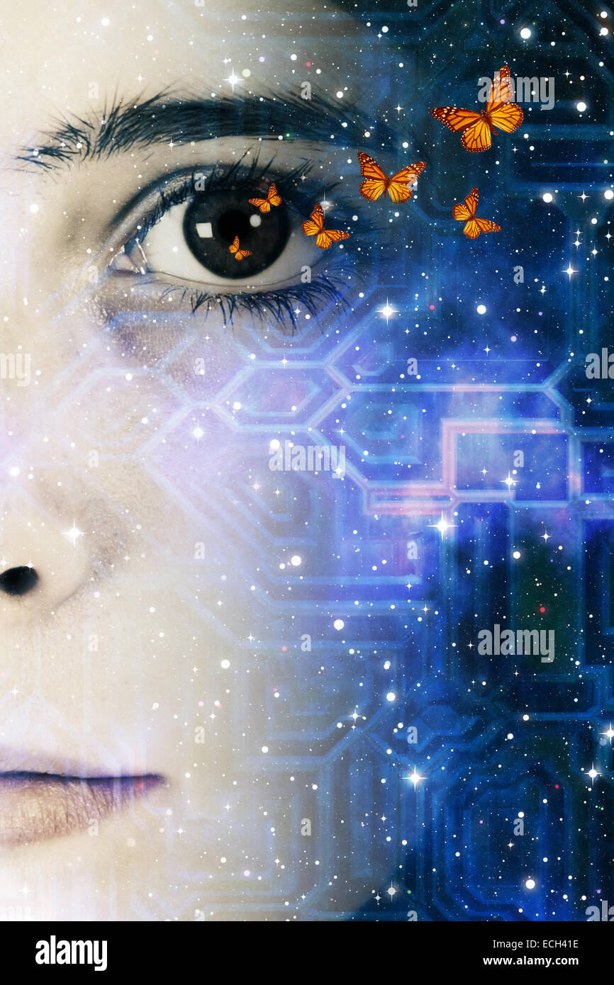 girl face, butterflies and space, future generations, human creativity, science and technology concept - Stock Image
